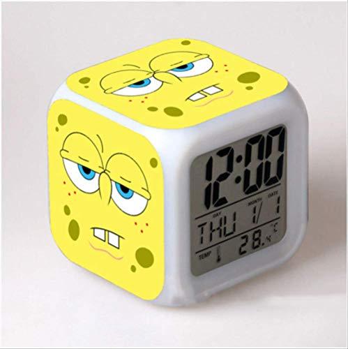 HHIAK666 Cartoon Spongebob Squarepants Wecker, Bunte Stimmung Wecker, Geschenk Nachtlicht Wecker 8Cm C