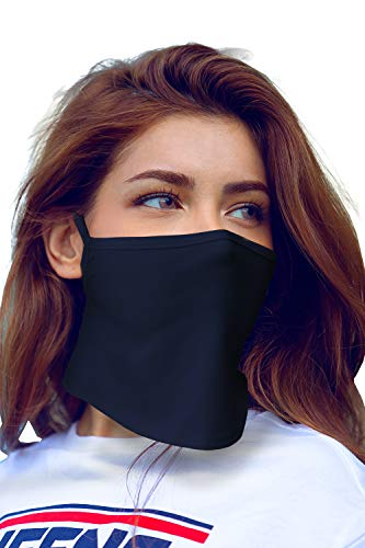 Bandanas Face Cover Mask Neck Gaiter Ear Loop Balaclava Made in USA -1-Layer_Ear_Navy,One Size