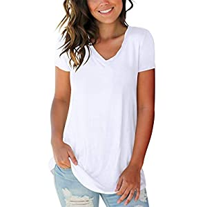 Women's V Neck Short Sleeve T Shirts Summer Casual Tops