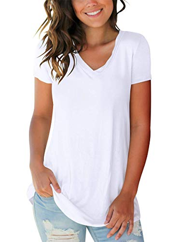 SAMPEEL Women T-Shirts Short Sleeve V Neck Tops Girls Casual Quality Clothing White XL