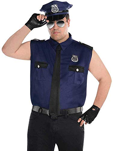 amscan- Blue Muscle Cop Costume with Gloves and Hat for Adults-Size XL-1 PC Gants et Chapeau Taille, 846926-55, Bleu, Extra Large