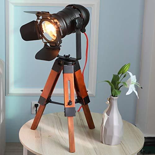 Tischlampe holz landhaus metall vintage schwarz dekorativ landhausstil e27 Nachttischleuchte nordic Stativ Tischleuchte antik treibholz led industrie design schlafzimmer