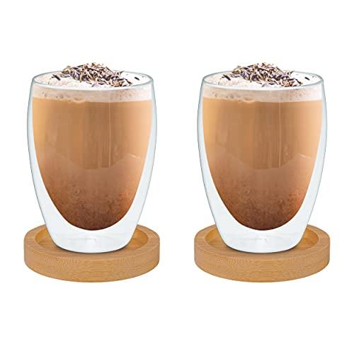 BlackSea 2x 350 ml doppelwandige Gläser mit Bambus Untersetzer (Thermogläser Set Latte Macchiato Cappuccino Kaffee Tee Cocktail)