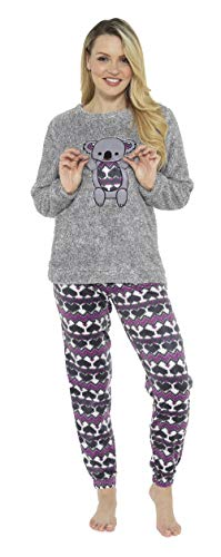 CityComfort Pijama de Pijamas cómodos Pijamas Snuggle Pijamas cálidos Pijama Twosie Set | Desgaste de Lujo del salón Suave para Las Mujeres para Las Mujeres (12-14, Koala Grigio)
