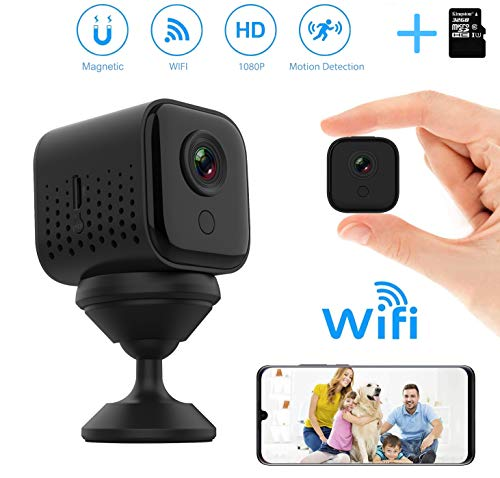 Mini Wireless WiFi Camera,DEXILIO 1080P HD Small Home Security Surveillance Cameras,Portable Tiny Nanny Cam Built-in Battery with Night Vision/Motion Detection for Indoor and Outdoor (with 32G Card)
