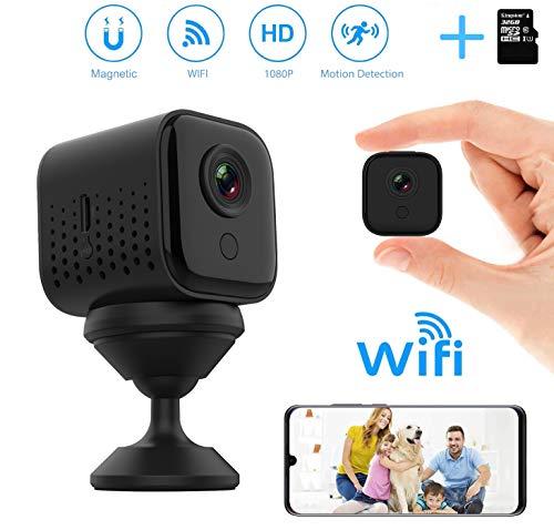 Mini telecamera spia WiFi, DEXILIO 1080P Telecamera nascosta wireless per sicurezza domestica con rilevazione di movimento, Microcamera di sorveglianza interna/esterna (con scheda da 32 GB)