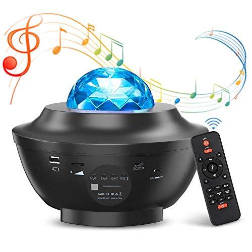 VOKSUN Projecteur LED étoile, Lampe de Projection Vague de l'Eau, Veilleuse Enfant Lampe de Chevet Nuit, Musique Lumière Réglable Bluetooth/USB avec Télécommande Minuterie, pour Fête/Décoration/Cadeau
