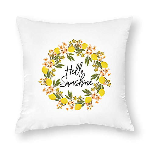Georgia Barnard Decorative Pillow Case, Farmhouse Throw Pillow Cover - Hello Sunshine Lemon Wreath Pillow Cover - Home Decor Cushion Case for Sofa Bedroom Car Couch, 18 x 18 Inch