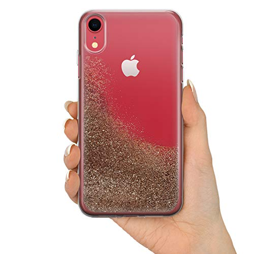 TULLUN REAL LIQUID GLITTER personalizado personalizado corazón y nombre iniciales texto TPU teléfono caso para modelos iPhone - Champagne Gold Liquid Glitter Case - iPhone X/XS