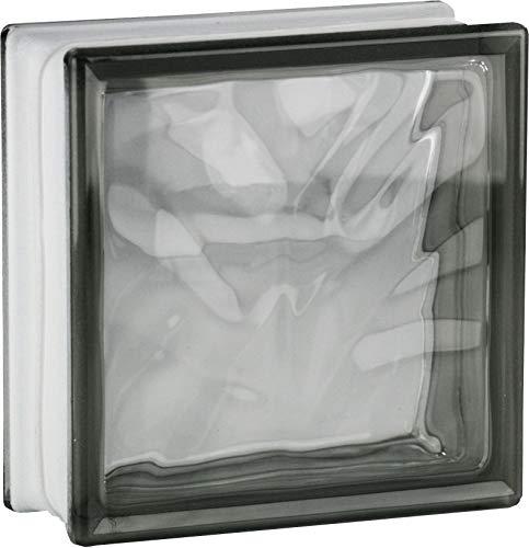 5 pièce FUCHS briques de verre nuage gris brillant 19x19x8 cm