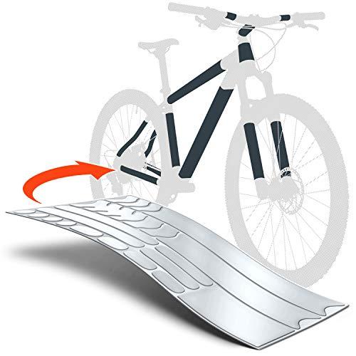 Luxshield Película Protectora de Pintura para Bicicleta Electrica, BMX, Carretera, Trekking, etc. - Conjunto para Cuadro de 20 Piezas contra Golpes de Piedras - Transparente y Autoadhesivo