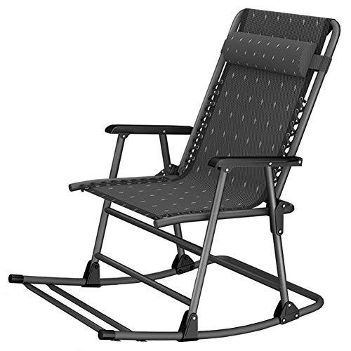 HXCD Klappbarer Lounge Schaukelstuhl mit Kopfstütze, Terrasse, Pool, Hof, Outdoor, tragbarer Stuhl für Camping, Angeln, Strand (schwarz)