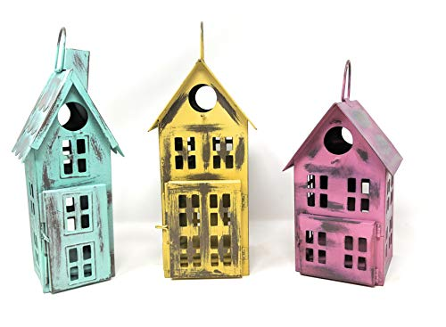 Metal Bird House Decor   Decorative Bird Houses for Indoor or Outdoor Hanging   Farmhouse Country Decor BirdHouses (Set of 3)