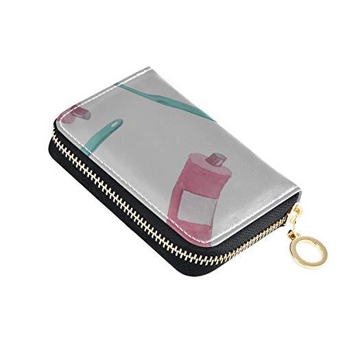 Fall Kartenhalter Cartoon Zahnpasta Haushaltsgegenstände Kreditkartenhüllen für Brieftasche Pu Leder Zip-Around kompakte Größe Brieftasche Kartenetui für Frauen Damen Mädchen Minimalist Akkordeon Bri