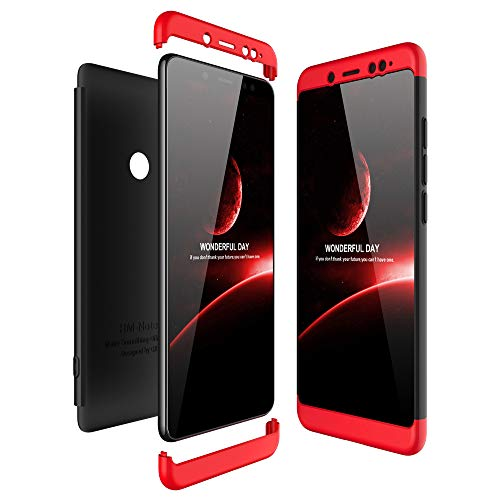 JMGoodstore Funda Compatible con Xiaomi Redmi Note 5 Pro,+Cristal Templado,3 in 1 Slim Dactilares Protectora Skin Caso Cover Rojo+Negro