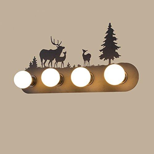 Retro mur industriel lampe lumière, le salon la chambre baignoire personnalité couloir avant miroir lampe avec ampoule, 60×30cm, trois cerfs,5 Watts ampoule LED lumière chaude