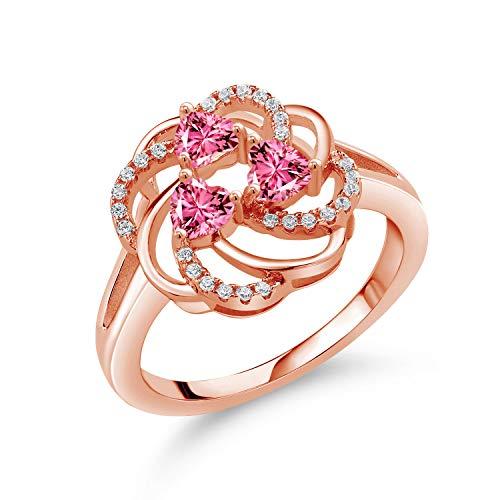 Gem Stone King ジルコニア (ピンク) 指輪 リング レディース シルバー925 ピンクゴールドコーティング