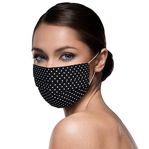 Unisex schwarze Stoffmasken Mundschutz Maske Stoff 100% Baumwolle schwarze Mund Nasen Schutzmaske mit Motiv Mund und Nasenschutz Maske waschbar SCHWARZ klein gepunktet