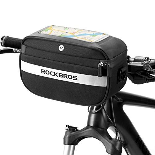 ROCKBROS Bike Handlebar Bag Front Bike Basket Bag Bicycle Storage Bag Reflective Stripe Touch Screen Phone Holder Pouch for Road Mountain Bike with Shoulder Strap