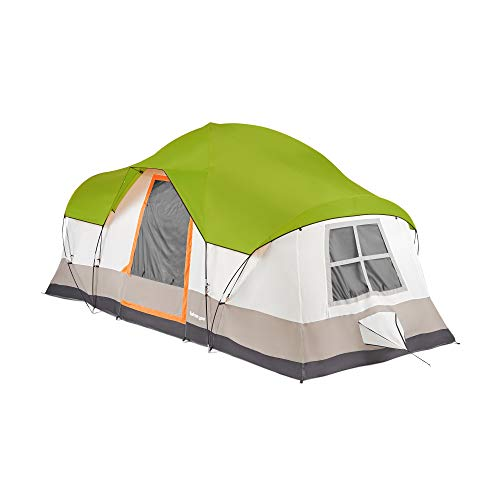 Tahoe Gear Olympia 10 Person 3 Season Outdoor Hiking Family Backpack Camping Tent, Green and Orange