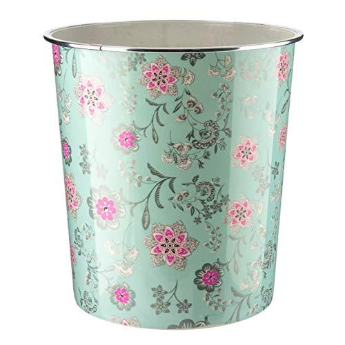Home Plus Papierkorb mit Blumenmuster, 7,7 l, leicht, Vintage-Design, Jadegrün und silberfarben
