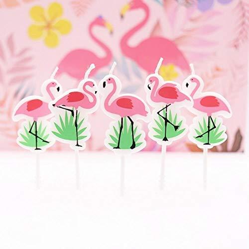 LinZX Unicornio de Dibujos Animados/Fiesta de cumpleaños del Flamenco Velas, Ducha bebé, niños de la Torta del Partido Velas del Partido del Unicornio decoración de tortas de Bricolaje,Flamingo