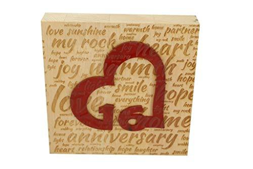 16th Wedding Anniversary Word Art Beech Block with 16 Year Acrylic Heart - 16th Anniversary Ornament
