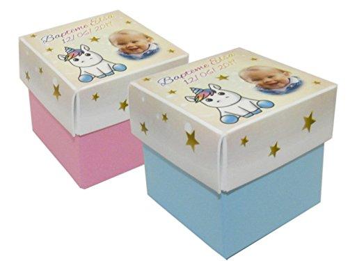 lot de 4 Boîte à dragées LICORNE BEBE CUBE personnalisée avec votre photo et votre texte pour baptême communion - ballotin à dragées design et moderne