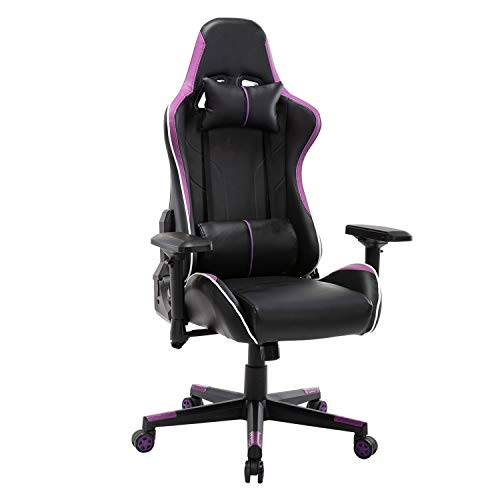 Gaming Chair Ergonomic Backrest and Seat Height Adjustable Rotatable Recliner, E-Sports Chair with Headrest and Lumbar Pillow(Purple)