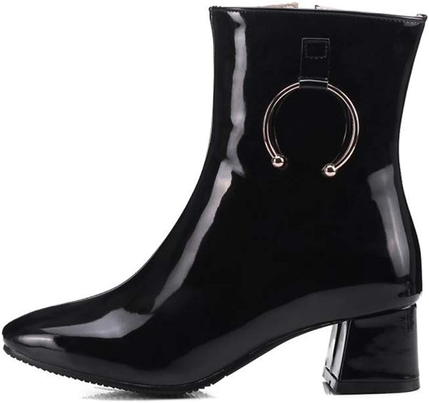BeautyOriginal Women's Winter Metal Decorative Square Head Fashion Booties