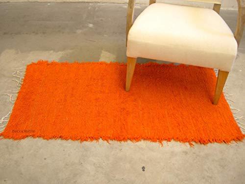 Orange Teppich, Fröhlicher farbiger Baumwollteppich zur Dekoration des Wohnzimmers, für das Schlafzimmer oder Kinderzimmer.