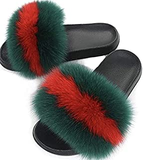 Women's Slippers, Slides for Women Open Toe Slippers,Girls Fluffy House Slides Outdoor, Indoor Slippers