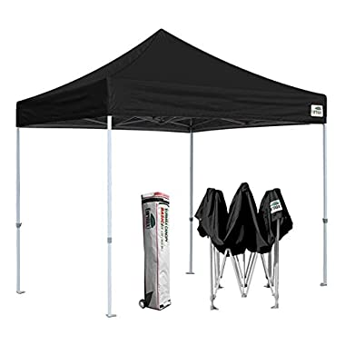 Eurmax 10'x10' Ez Pop Up Canopy Tent Commercial Instant Shelter with Heavy Duty Roller Bag (Black)