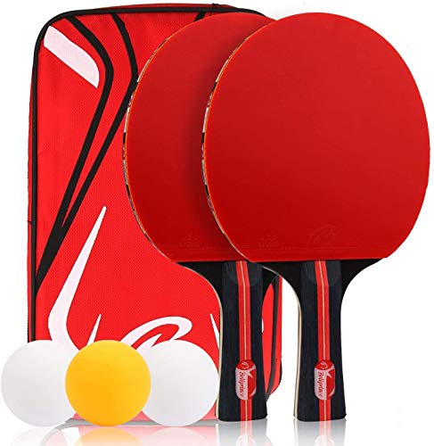 Etmury Ping Pong Paddle Set,Table Tennis Rackets, 2 Premium Rackets 3 Ping Pong Balls Incl with Table Tennis Set,for Beginners, Professionals, and Amateurs Indoor & Outdoor Games (Black-Red)