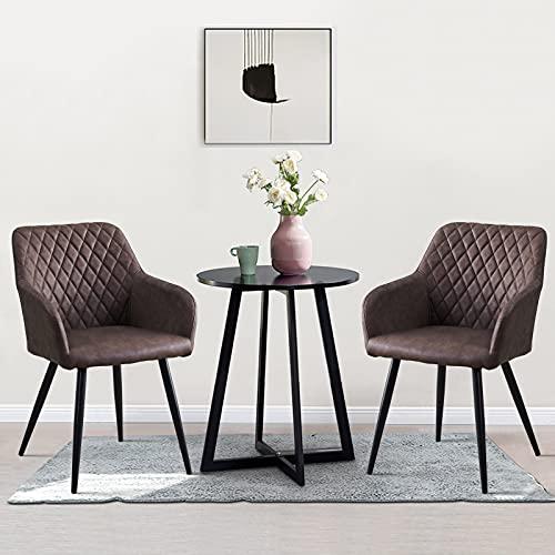 OFCASA Juego de 2 sillas de comedor de piel sintética con apoyabrazos tapizados marrón para tina con respaldo de diseño retro y sillón para recepción de restaurantes