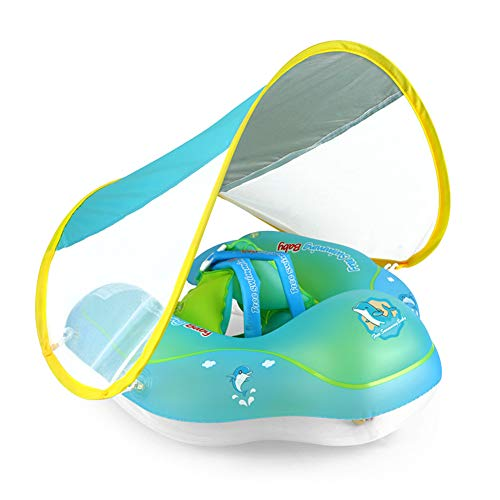Fuyamp Flotador de bebé, anillo de natación con asiento flotador infantil inflable ajustable flotador de bebé, con bomba manual, juguete de natación y gorra extraíble (L)