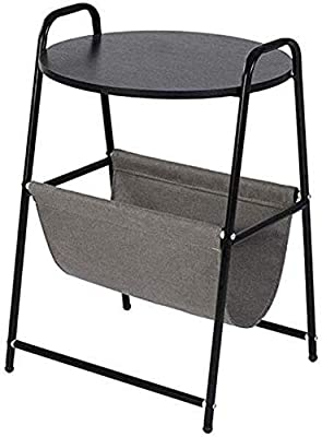 Tables, Round Coffee Side Sofa, Fabric Storage Basket Bag Bedroom Bedside Household (Color : Black)