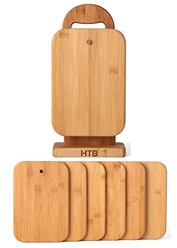 HTB 6 Piece Bamboo Cutting Board Sets with Stand Holder for Chopping Cheese, Sandwich, Fruit