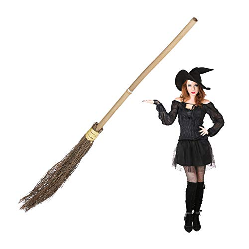 Relaxdays, naturale Scopa da Strega, Saggina, Manico in Bambù, Travestimento Bambini e Adulti, Costume, Accessori, 93 cm, Unisex, 1 pz, 10023850