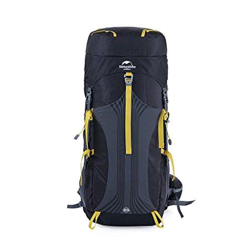 NatureHike 大型55L / 65L屋外防水ハイキングバックパックキャンプバッグの荷物 (Black, 65L)