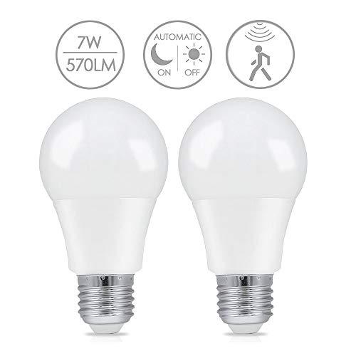 2x Bombilla LED E27 con Sensor de Movimiento, LAKES Luz de Noche LED Encendido/Apagado Automático, Blanco Cálido 3000K 7W = 60W