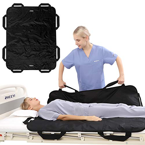 """ZHEEYI Bed Positioning Pad with Reinforced Handles 48"""" x 40"""" Lifting Turning Patient Sheet Transfer Blanket for Caregiver, Bedridden, Elderly, Black"""
