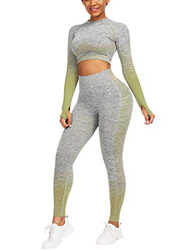 CINDYLOVER Mujeres Conjunto de Yoga 2 Piezas - Seamless Gradient Top de Manga Larga Pantalón Deportivo Leggings sin Costuras Alta Cintura Elásticos Fitness para Gymnasio Verde L