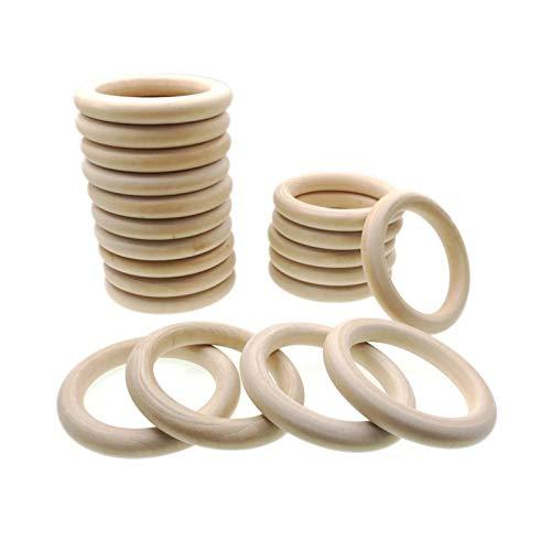 JZK 20 PCS 10cm Grande anillos de madera natural para manualidades, anillo madera sin terminar para macramé dentición bebe...