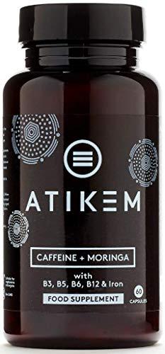 Cafeína (200 mg) y Moringa (250mg) Capsulas para la Energía y de Enfoque con Taurina (200mg) B3, B5, B6, B12 y Hierro - 60 Tabletas de Suplementos Veganos