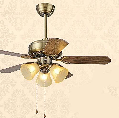 WHSS * Ventilador de techo con lámpara para dormitorio, ventilador de techo europeo estilizado, iluminación de lámparas, diámetro de 107 cm, tres luces de madera, con control remoto Mr