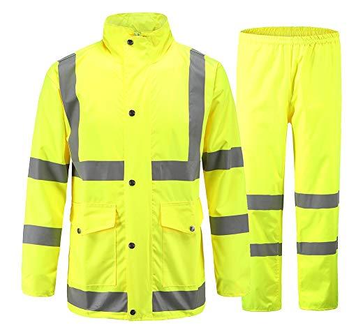 Icegrey Wasserdichten Anzug mit Reflexstreifen Regenjacke mit Kapuze Regenhosen Arbeitskleidung Fluoreszierendes Gelb 46