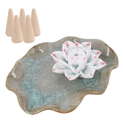 ITODA - Porta incenso in ceramica, per incenso e incenso, realizzato a mano, in porcellana, Stile B-2, large
