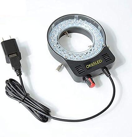 YEZIO Places de Prueba, Microscopio Ajustable DIRIGIÓ Lámpara iluminada de luz de Anillo para ESTÉREO Microscopio Excelente Círculo Luz (Color : Black)