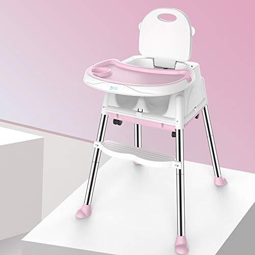 LMJ Outsider Kinderstoel, multifunctionele opvouwbare draagbare kinderstoel eettafel en stoelstoel kinderstoel roze + tafelmat (vier rondes verzenden)